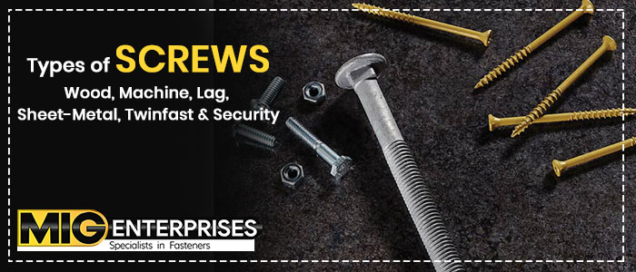 Types of screws – Wood, Machine, Lag, Sheet-Metal, Twinfast & Security